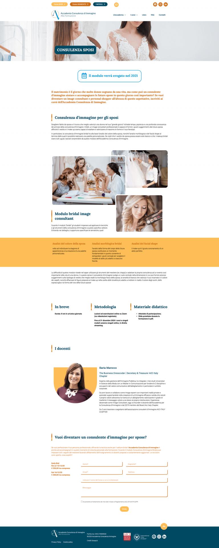 Kreas website accademiaconsulenzaimmagine i corsi moduli consulenza sposi