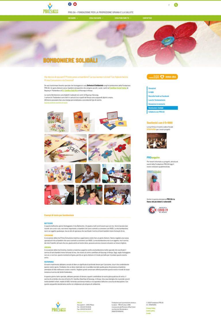 Kreas website fondazioneprosa it cosa puoi fare tu bomboniere solidali