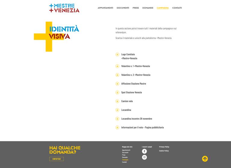 Kreas website piumestrepiuvenezia org campagna (1)